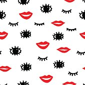 seamless fashion pattern, red lips, black eyes and eyelashes on a white background, summer print for textiles, vector illustration