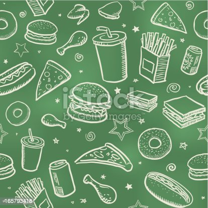 Sketchy fast food icons drawn on a blackboard. Will tile endlessly.