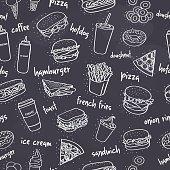 seamless fast food pattern on dark background