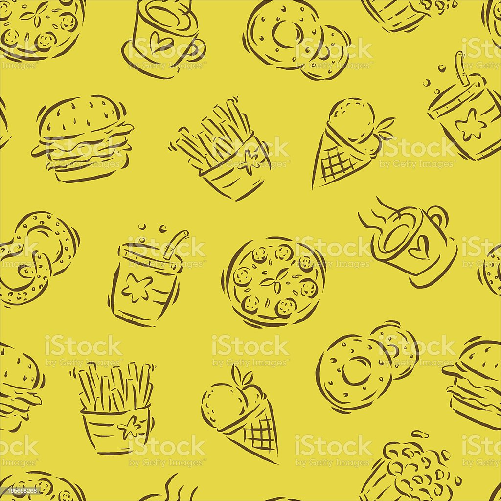 Seamless Fast Food Pattern royalty-free stock vector art