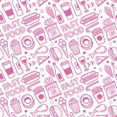 Seamless vector background contains doodle fast food drawings.