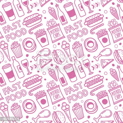Seamless Fast Food Pattern Stock Vector Art & More Images ...