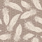 Hand drawn feathers  seamlessly repeating wallpaper pattern. Great for fabric and drapery prints.