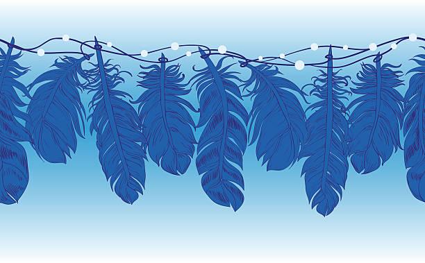 ilustrações de stock, clip art, desenhos animados e ícones de seamless feathers on a string with beads like lace - pena de pássaro algodão
