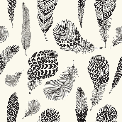 Seamless Feathers Pattern Stock Illustration - Download Image Now