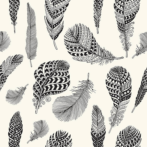 Seamless feathers pattern Editable vector seamless pattern on background layer. bird backgrounds stock illustrations