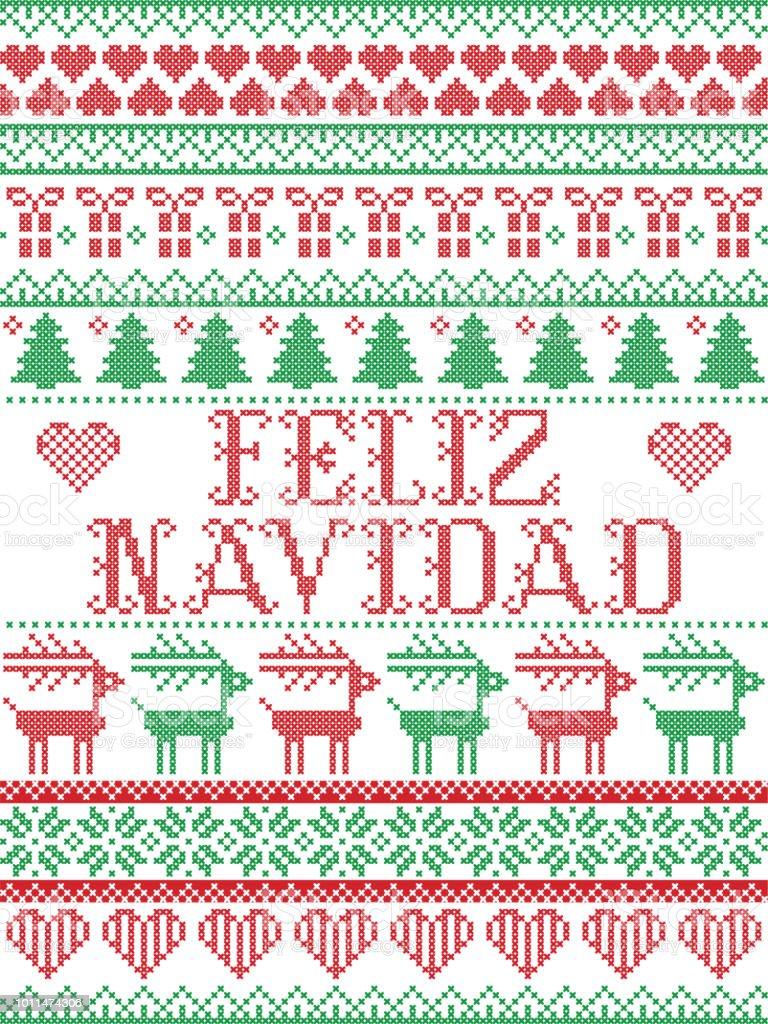 Seamless Feliz Navidad Scandinavian Style Inspired By Norwegian ...