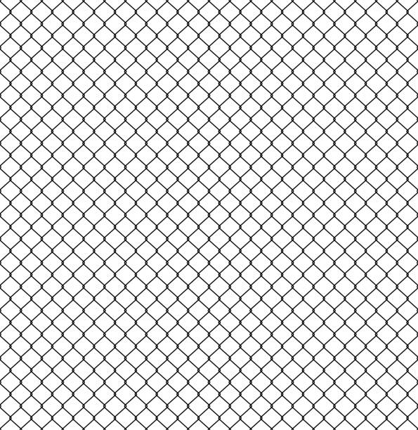 stockillustraties, clipart, cartoons en iconen met naadloze hek patroon. aansluiting van beschermende raster elementen. vector - hek