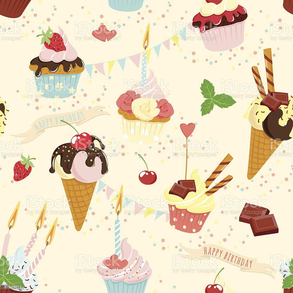 Ilustración de Seamless De Fiesta De Cumpleaños Pastel Y Helado ...