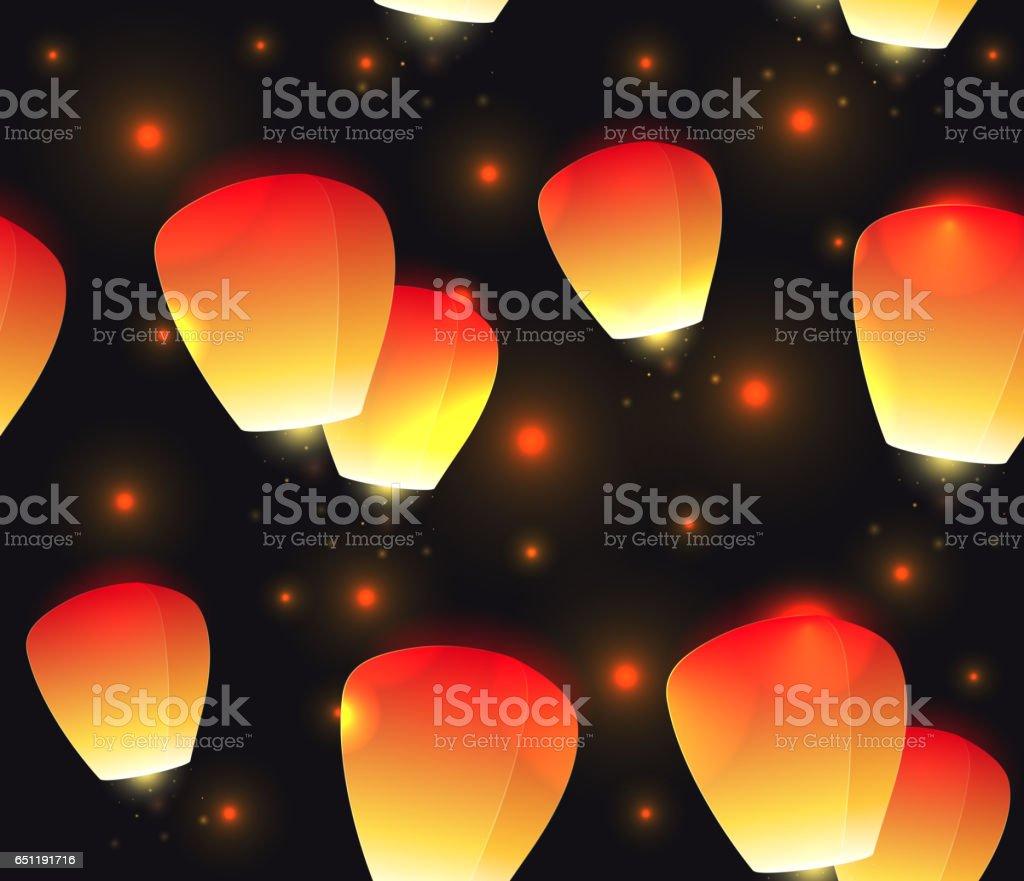 Seamless festive texture sky lanterns and sparks. vector art illustration