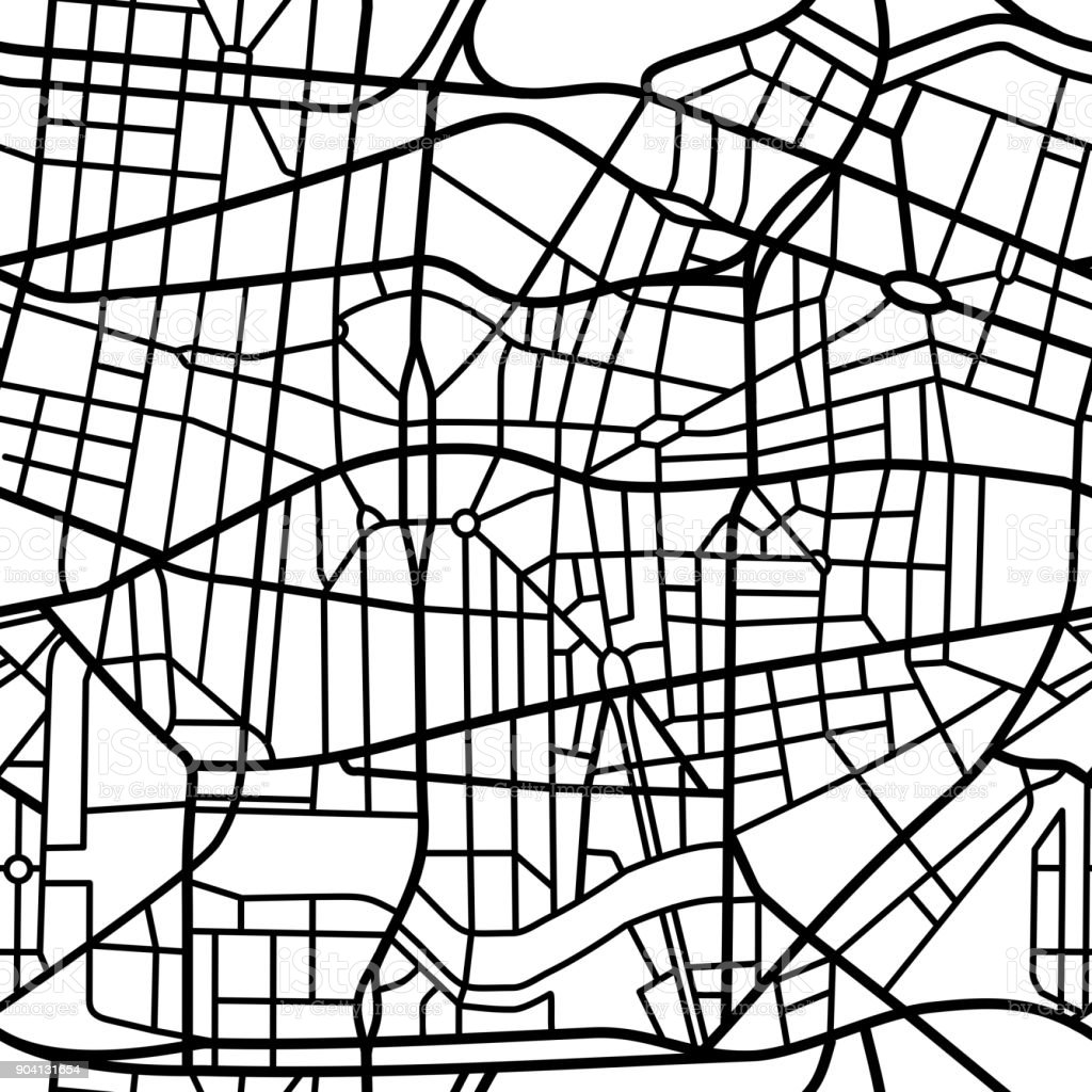 Seamless fictional city map vector art illustration