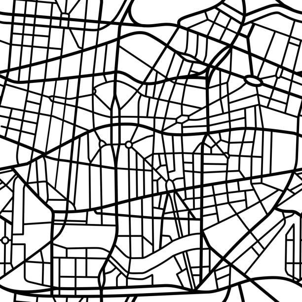 シームレスな架空の都市地図 - 都市 モノクロ点のイラスト素材/クリップアート素材/マンガ素材/アイコン素材