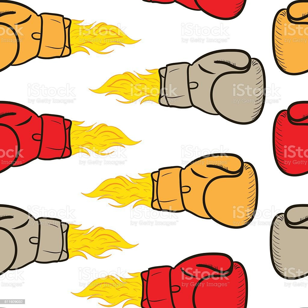Seamless fiery boxing gloves vector art illustration