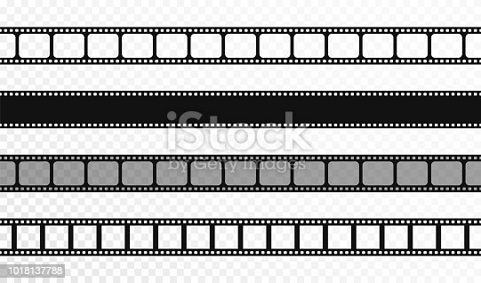 Seamless film strips on transparent background. Vintage cinema and photo tape. Retro film strips. Vector