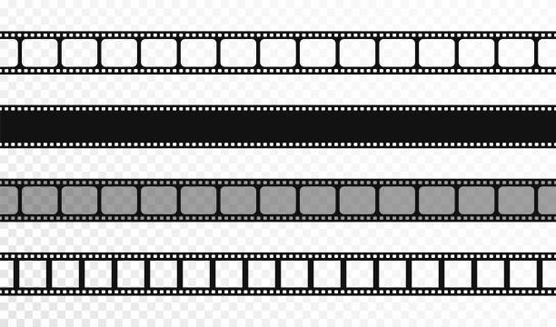 seamless film strips on transparent background. vintage cinema and photo tape. retro film strips - record analog audio stock illustrations