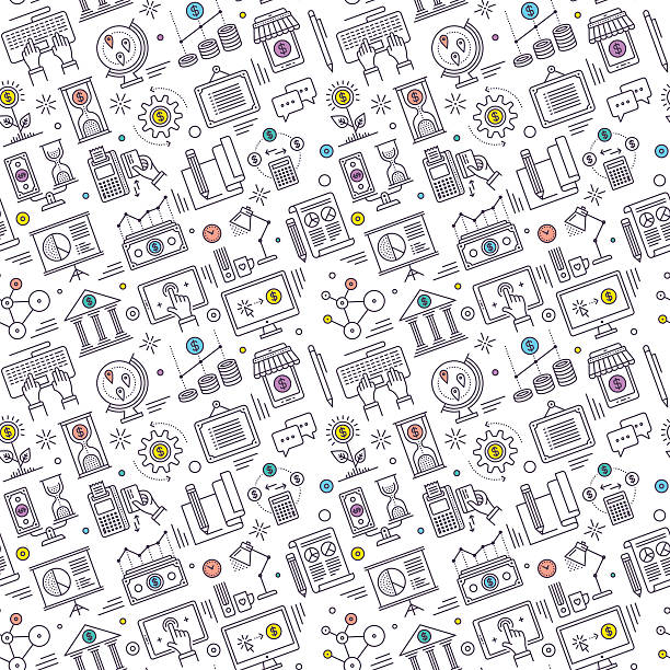 Seamless Finance Pattern Seamless pattern background vector illustration for finance and business compositions. budget patterns stock illustrations