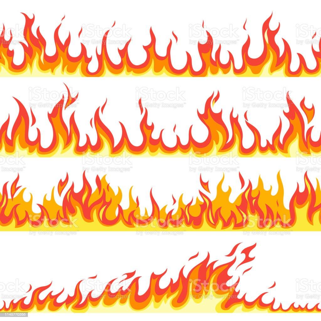Sömlös brand flamma. Bränder flammande mönster, brandfarlig linje flamma varm temperatur, gas flammande tapet tecknad vektor texturerade ramar - Royaltyfri Antända vektorgrafik