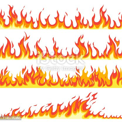Seamless fire flame. Fires flaming pattern, flammable line blaze hot temperature, gas blazing wallpaper cartoon vector firewall textured frames set