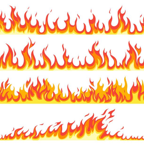 Seamless fire flame. Fires flaming pattern, flammable line blaze hot temperature, gas blazing wallpaper cartoon vector textured frames Seamless fire flame. Fires flaming pattern, flammable line blaze hot temperature, gas blazing wallpaper cartoon vector firewall textured frames set flame stock illustrations