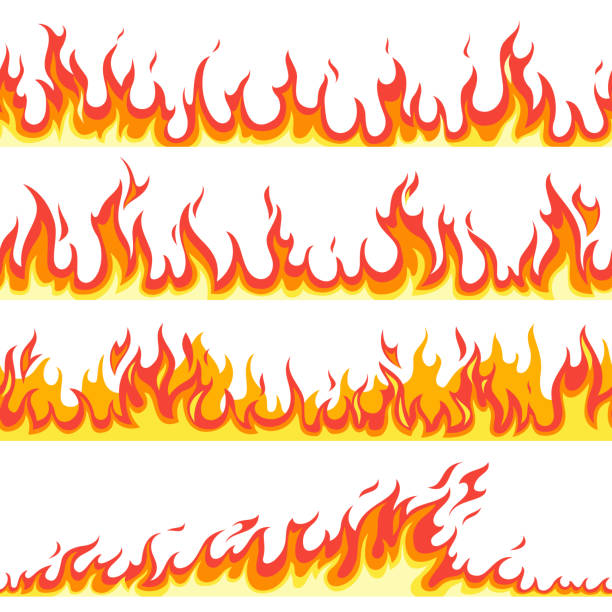 bildbanksillustrationer, clip art samt tecknat material och ikoner med sömlös brand flamma. bränder flammande mönster, brandfarlig linje flamma varm temperatur, gas flammande tapet tecknad vektor texturerade ramar - flames