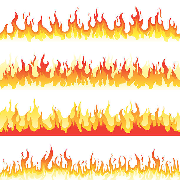 Seamless Fire Flame Illustration of seamless burning fire flame. Editable vector illustration. backgrounds clipart stock illustrations