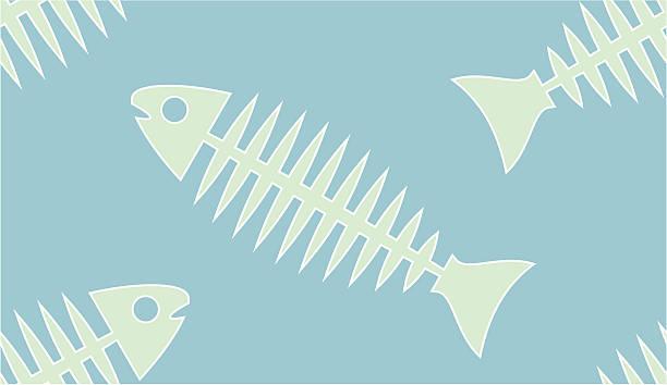 シームレスな背景に魚の骨 - 魚の骨点のイラスト素材/クリップアート素材/マンガ素材/アイコン素材
