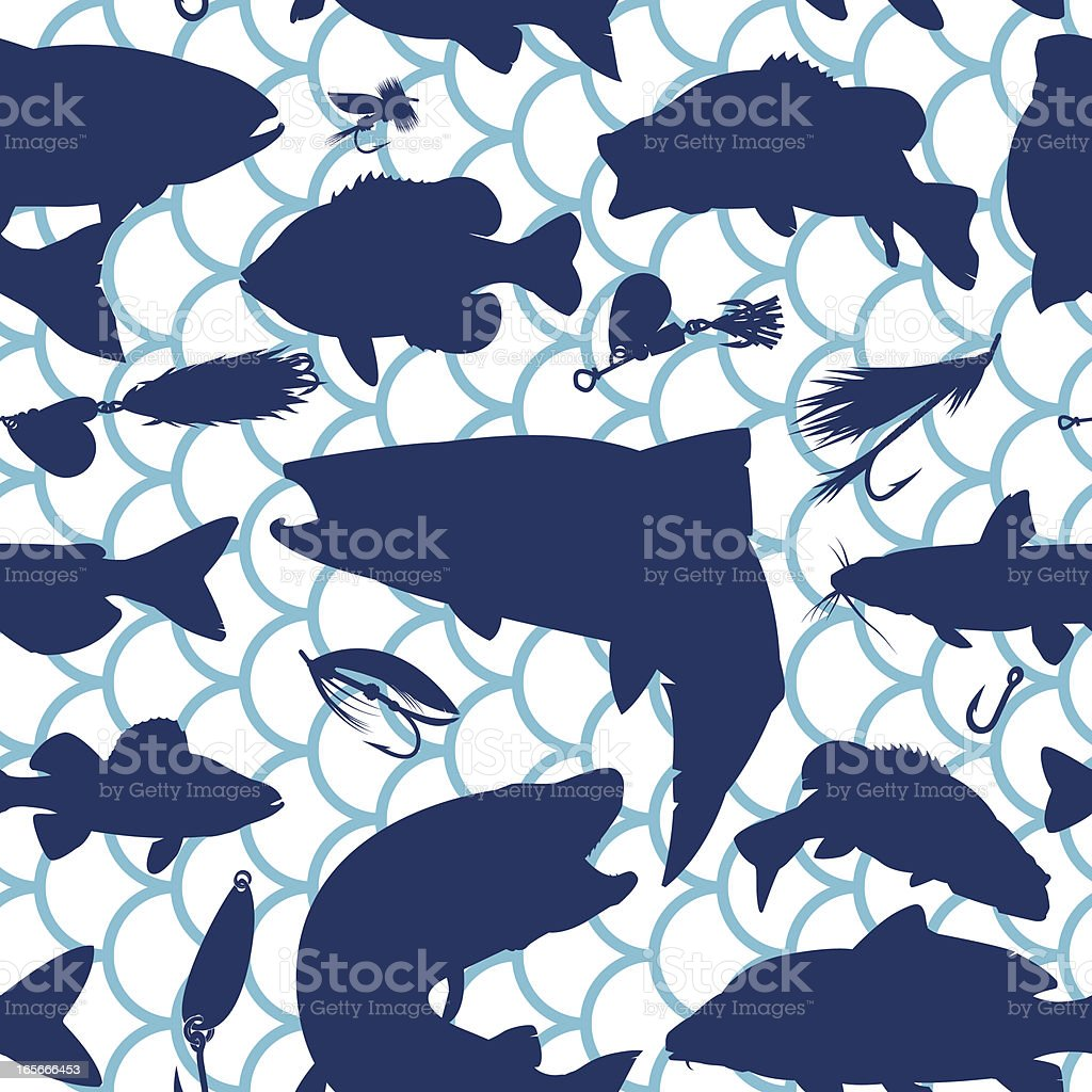 Seamless Fishing Silhouette Background vector art illustration