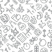 Seamless fitness and healthy lifestyle icons pattern grey vector on white background