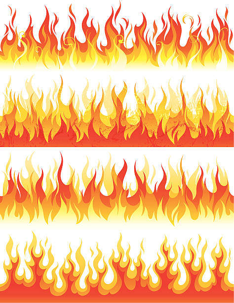 bildbanksillustrationer, clip art samt tecknat material och ikoner med seamless flame - flames