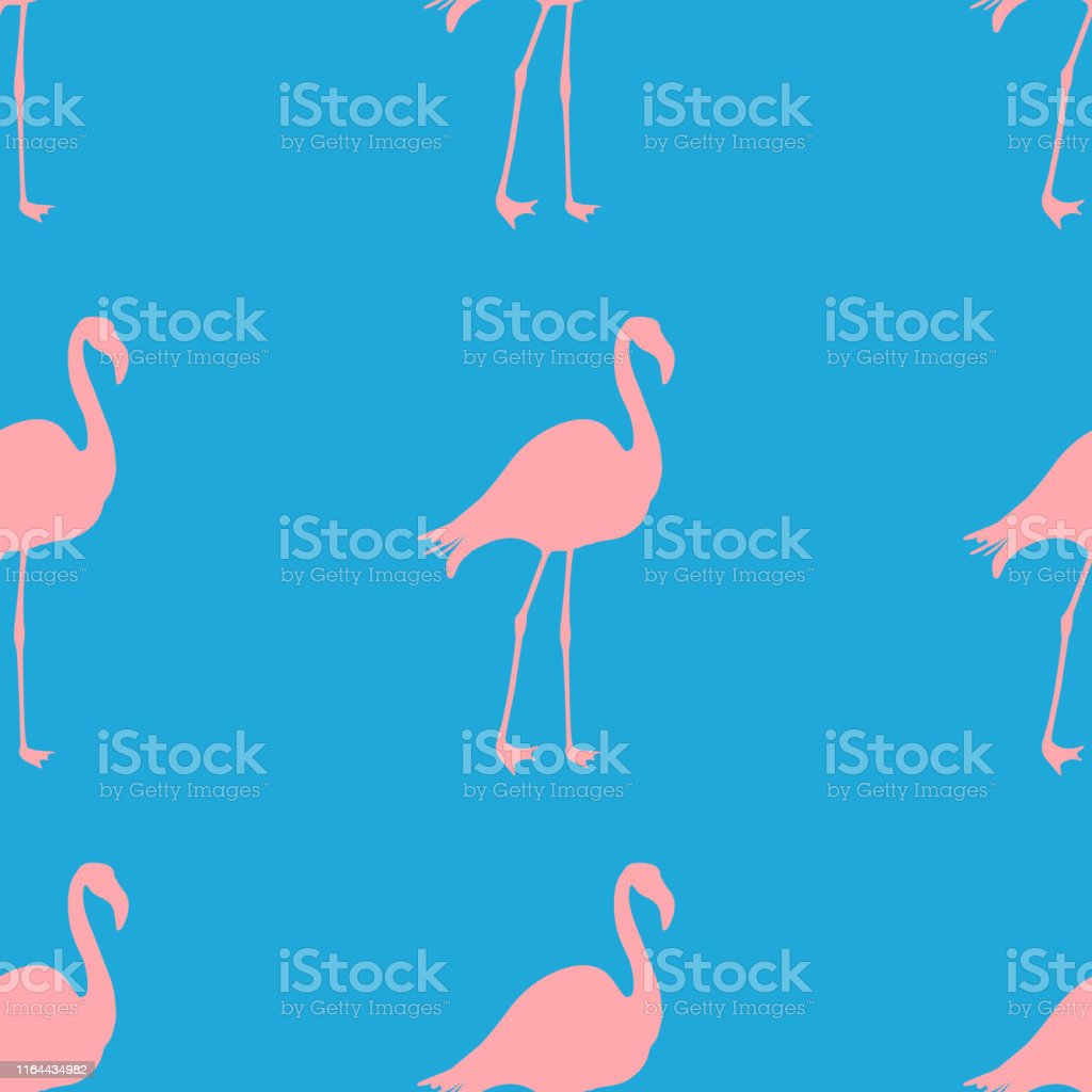 Seamless Flamingo Pattern Vector Illustration Neon Flamingos