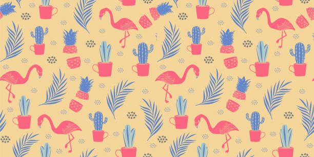 stockillustraties, clipart, cartoons en iconen met naadloze flamingo patroon vector illustratie vintage retro design - afrikaanse vogel