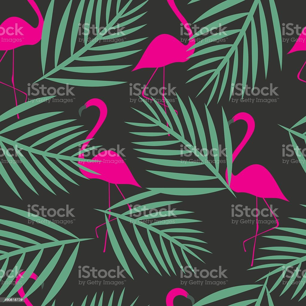 Seamless flamingo vector patterns vector art illustration