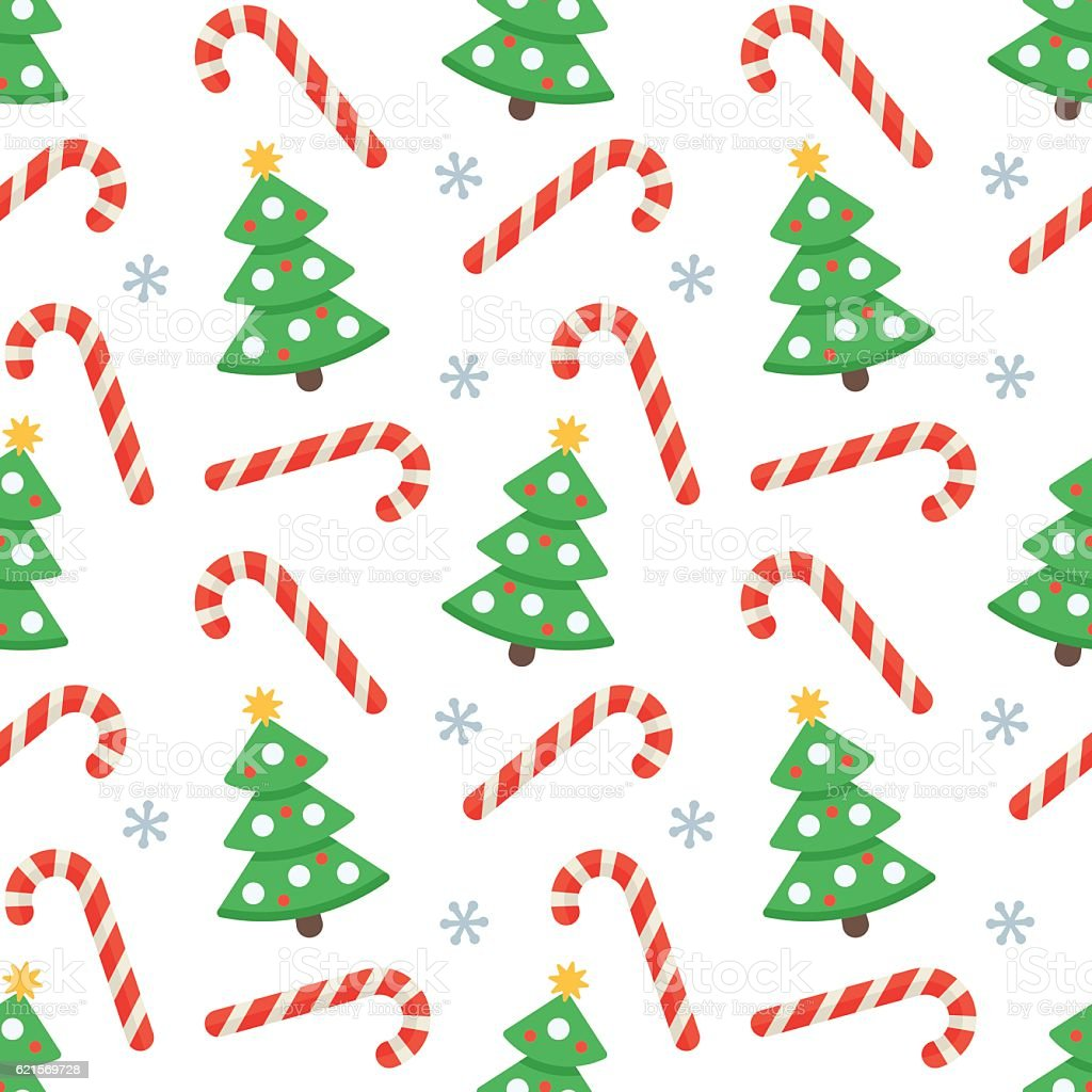Seamless flat Christmas pattern of candy cane and fir tree seamless flat christmas pattern of candy cane and fir tree – cliparts vectoriels et plus d'images de affaires libre de droits