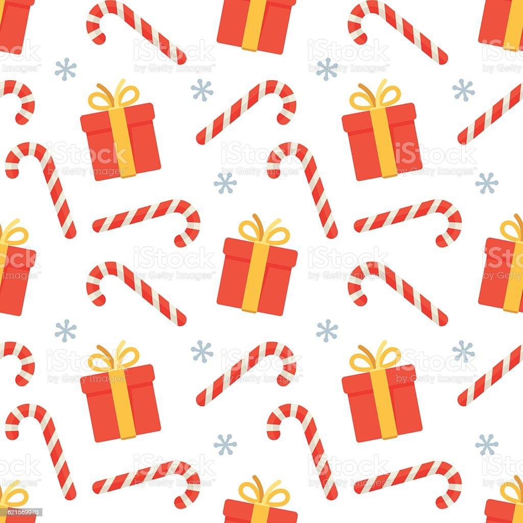 Seamless flat Christmas pattern of candy cane and gift Lizenzfreies seamless flat christmas pattern of candy cane and gift stock vektor art und mehr bilder von bildhintergrund