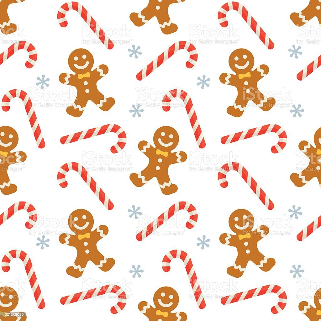 Seamless flat Christmas pattern of candy cane and gingerbread Lizenzfreies seamless flat christmas pattern of candy cane and gingerbread stock vektor art und mehr bilder von bildhintergrund