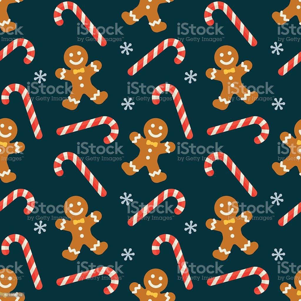 Seamless flat Christmas pattern of candy cane and gingerbread seamless flat christmas pattern of candy cane and gingerbread - immagini vettoriali stock e altre immagini di a forma di stella royalty-free