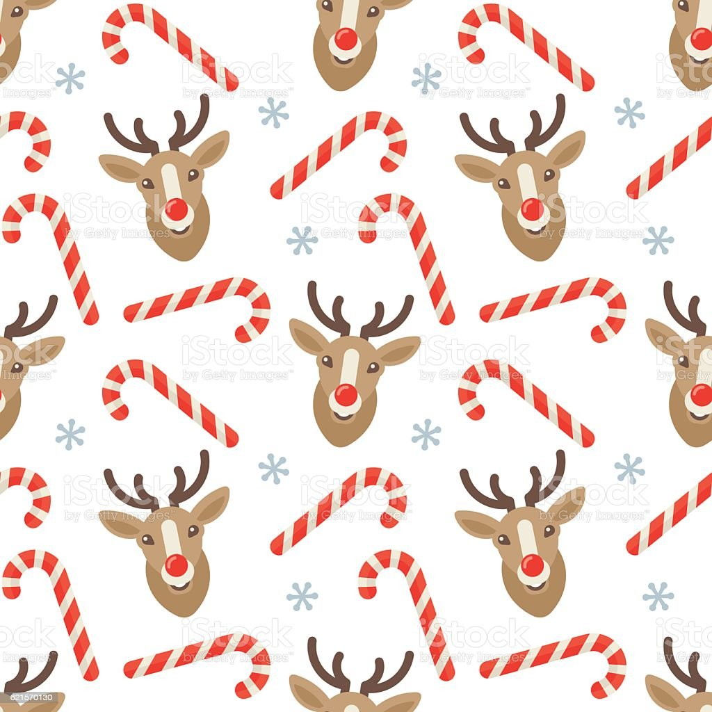 seamless flat christmas pattern of candy cane and reindeer stock