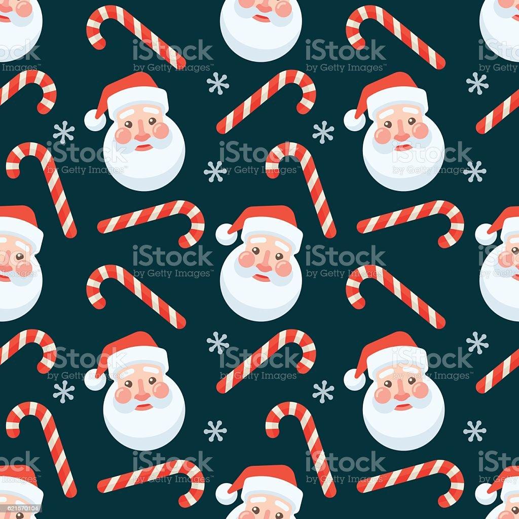 Seamless flat Christmas pattern of candy cane and Santa Claus seamless flat christmas pattern of candy cane and santa claus – cliparts vectoriels et plus d'images de affaires libre de droits