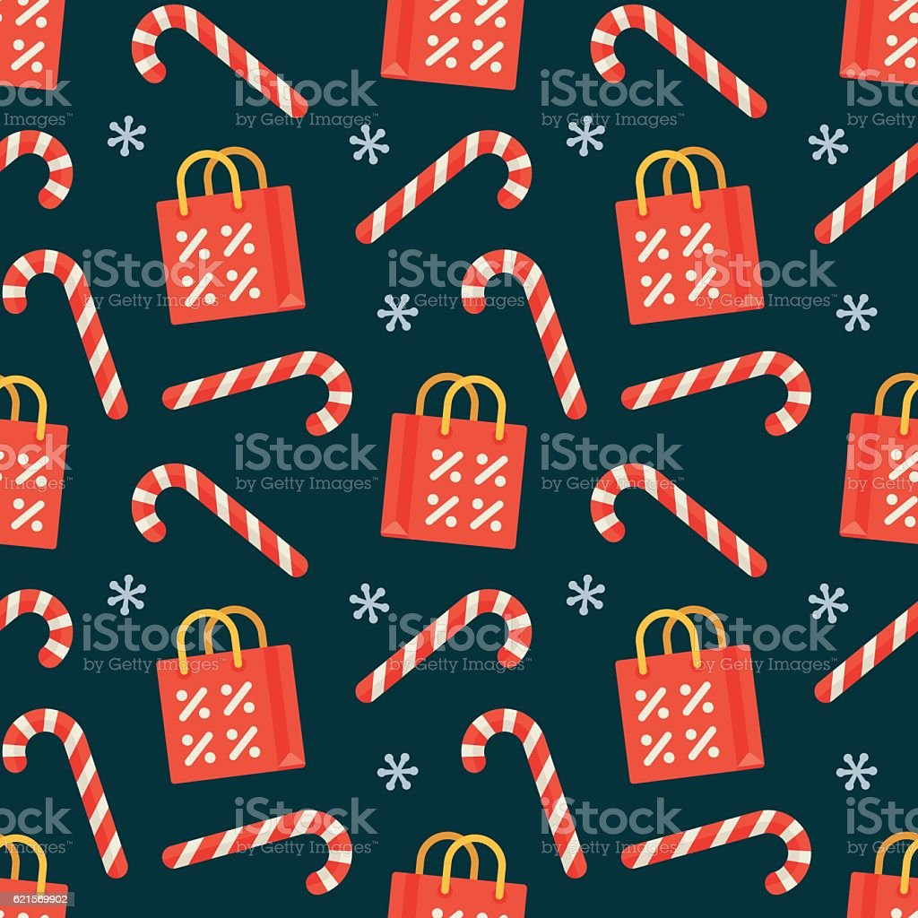 Seamless flat Christmas pattern of candy cane and shopping bag seamless flat christmas pattern of candy cane and shopping bag – cliparts vectoriels et plus d'images de affaires libre de droits