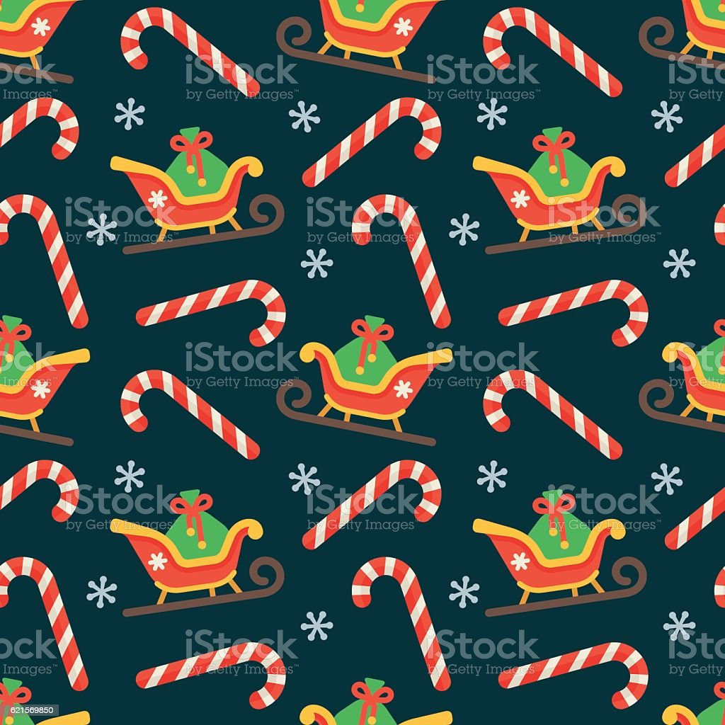 Seamless flat Christmas pattern of candy cane and sleigh seamless flat christmas pattern of candy cane and sleigh - immagini vettoriali stock e altre immagini di a forma di stella royalty-free