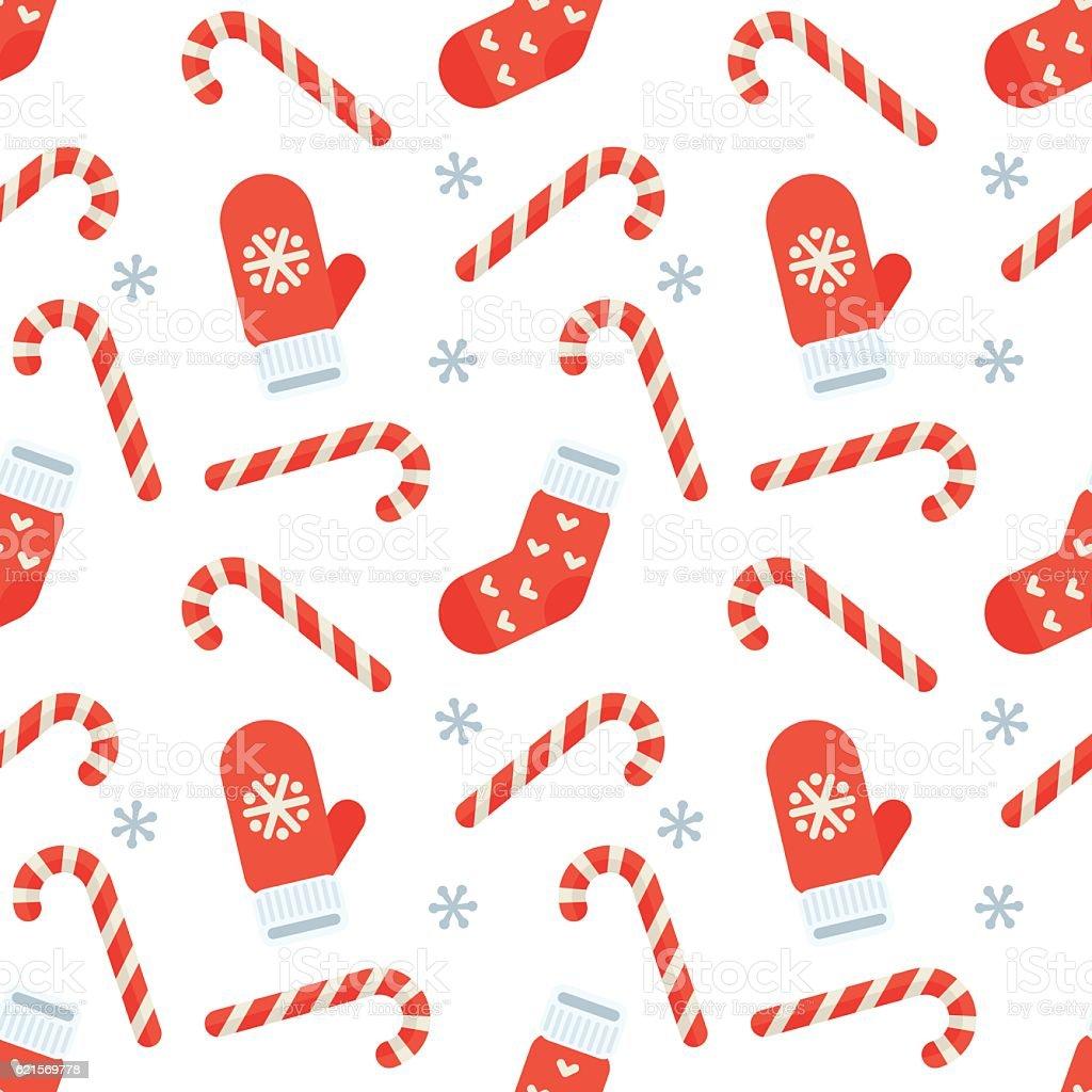 Seamless flat Christmas pattern of candy cane, mitten and stocking seamless flat christmas pattern of candy cane mitten and stocking - immagini vettoriali stock e altre immagini di a forma di stella royalty-free