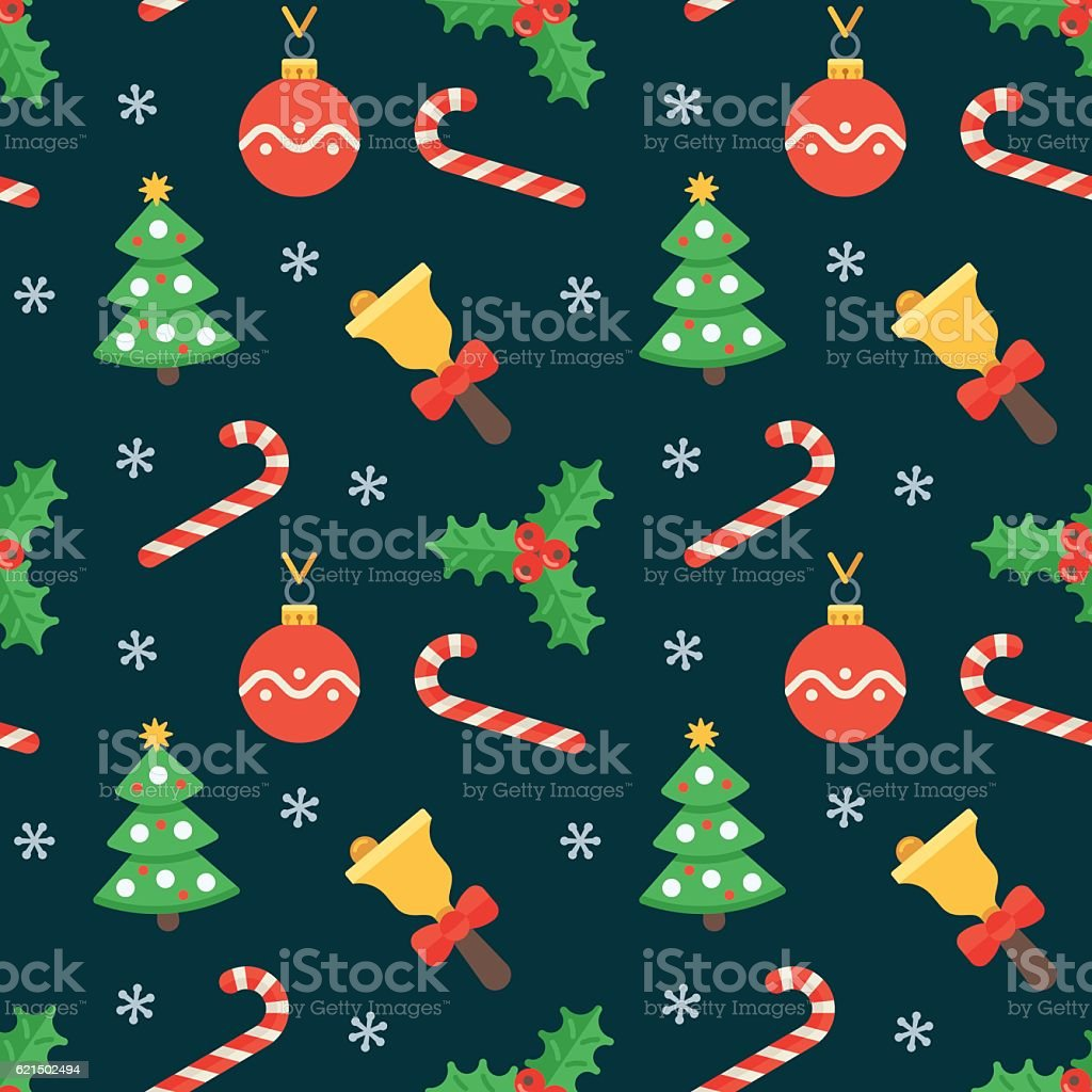 Seamless flat Christmas pattern of traditional decoration elements – Vektorgrafik