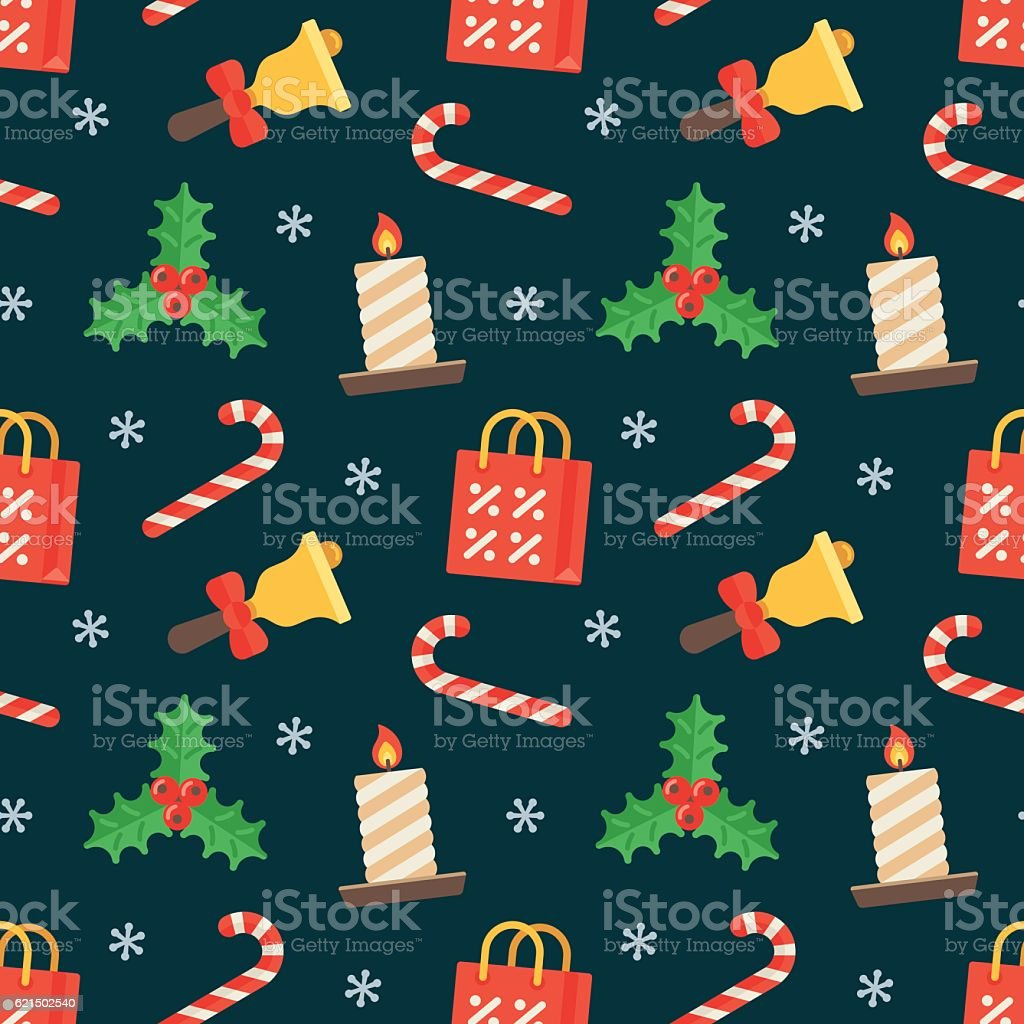 Seamless flat Christmas pattern of traditional decoration elements Lizenzfreies seamless flat christmas pattern of traditional decoration elements stock vektor art und mehr bilder von ausverkauf