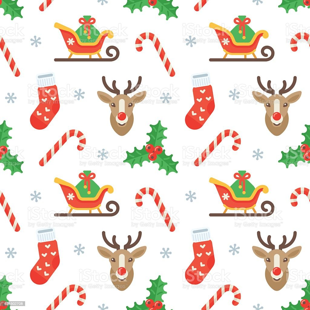 Seamless flat Christmas pattern of traditional decoration elements seamless flat christmas pattern of traditional decoration elements - immagini vettoriali stock e altre immagini di a forma di stella royalty-free
