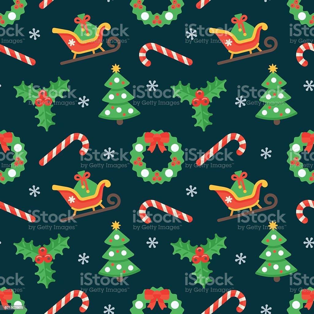 Seamless flat Christmas pattern of traditional decoration elements Lizenzfreies seamless flat christmas pattern of traditional decoration elements stock vektor art und mehr bilder von baum