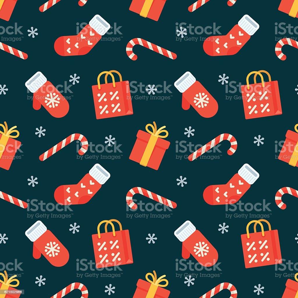 Seamless flat Christmas pattern of traditional decoration elements Lizenzfreies seamless flat christmas pattern of traditional decoration elements stock vektor art und mehr bilder von ausverkauf