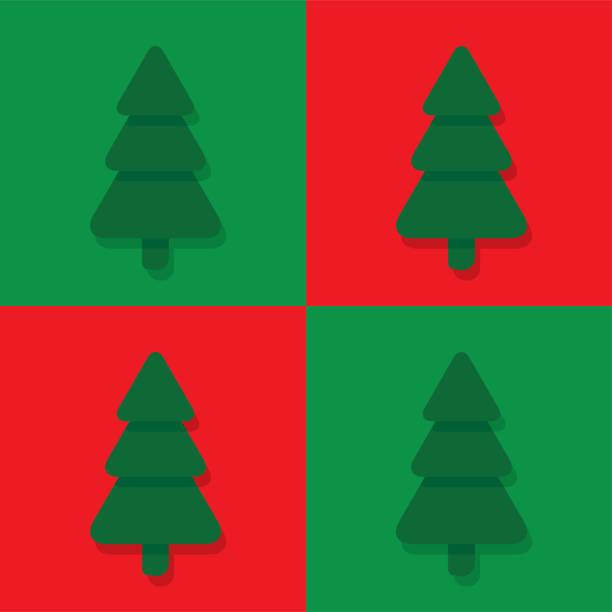 Seamless flat christmas pattern with fir trees vector art illustration
