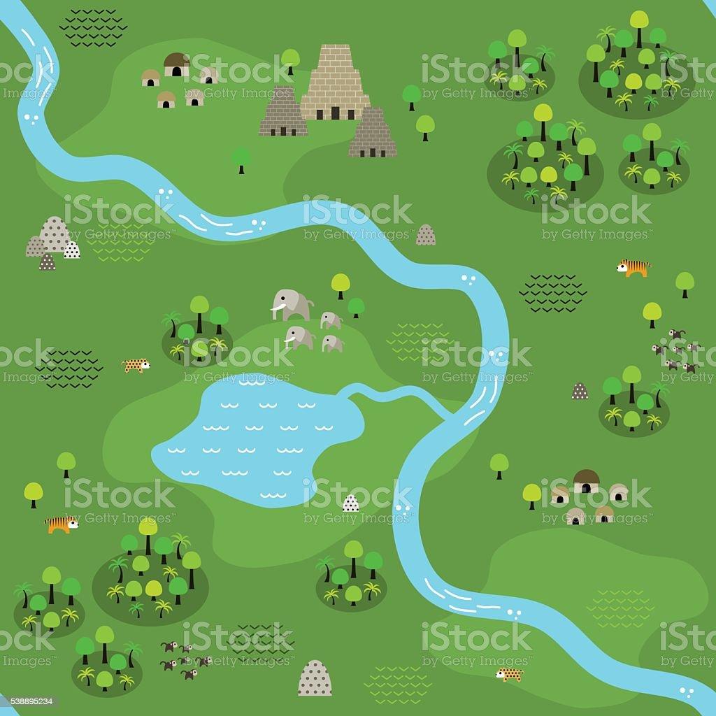 Seamless Flat Jungle Map Pattern vector art illustration