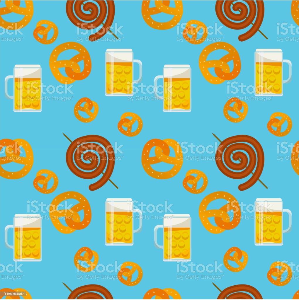 Seamless pattern of traditional Oktoberfest food. Oktoberfest beer...