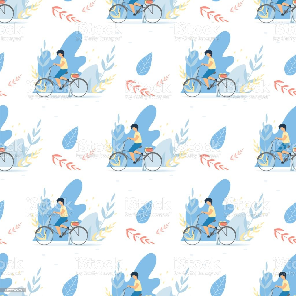 Seamless Flat Pattern with Boy Riding Bicycle. Vector Cartoon with...
